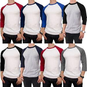 Mens-100-Cotton-3-4-Sleeve-T-Shirt-Baseball-Jersey-Raglan-Team-Tee-New-S-M-L-XL