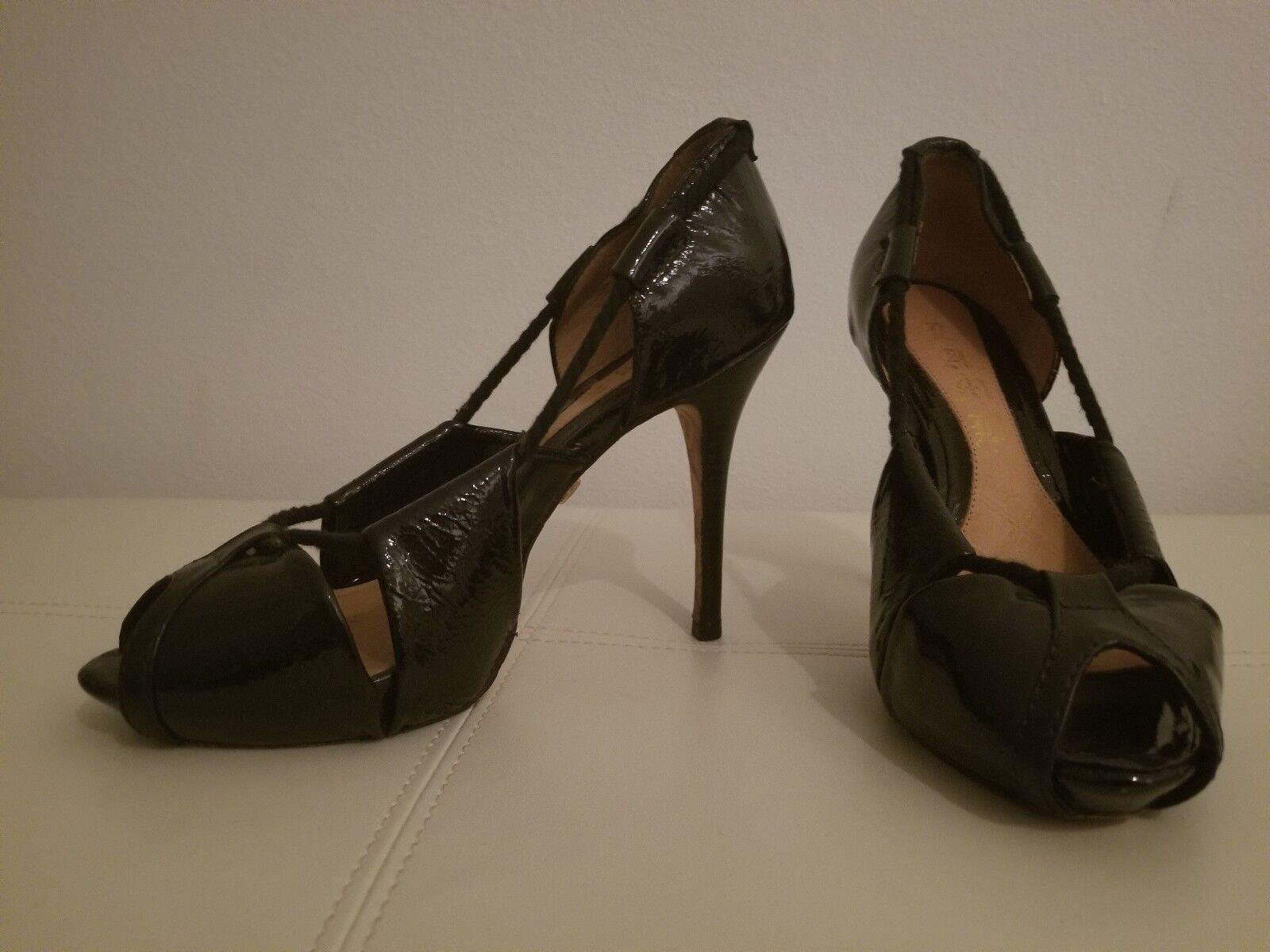 L.A.M.B Black Patent Leather Open Toe Heels Lace Cage Pumps shoes Gwen Stefani 8