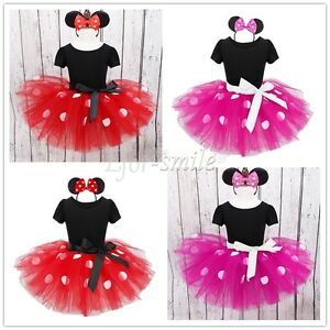 Image is loading Baby-Toddler-Girl-Minnie-Mouse-Costume-Party-Outfit-  sc 1 st  eBay & Baby Toddler Girl Minnie Mouse Costume Party Outfit Kids Ballet ...