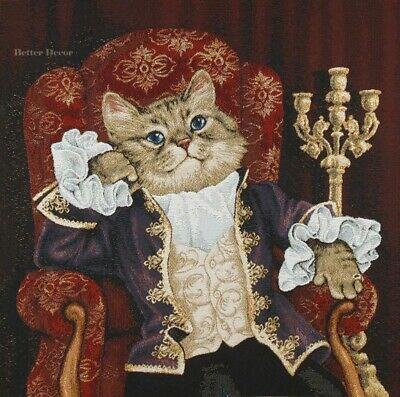 WALL JACQUARD WOVEN TAPESTRY Aristocrat Cat Agnes VICTORIAN DRESSED NOBLE CATS