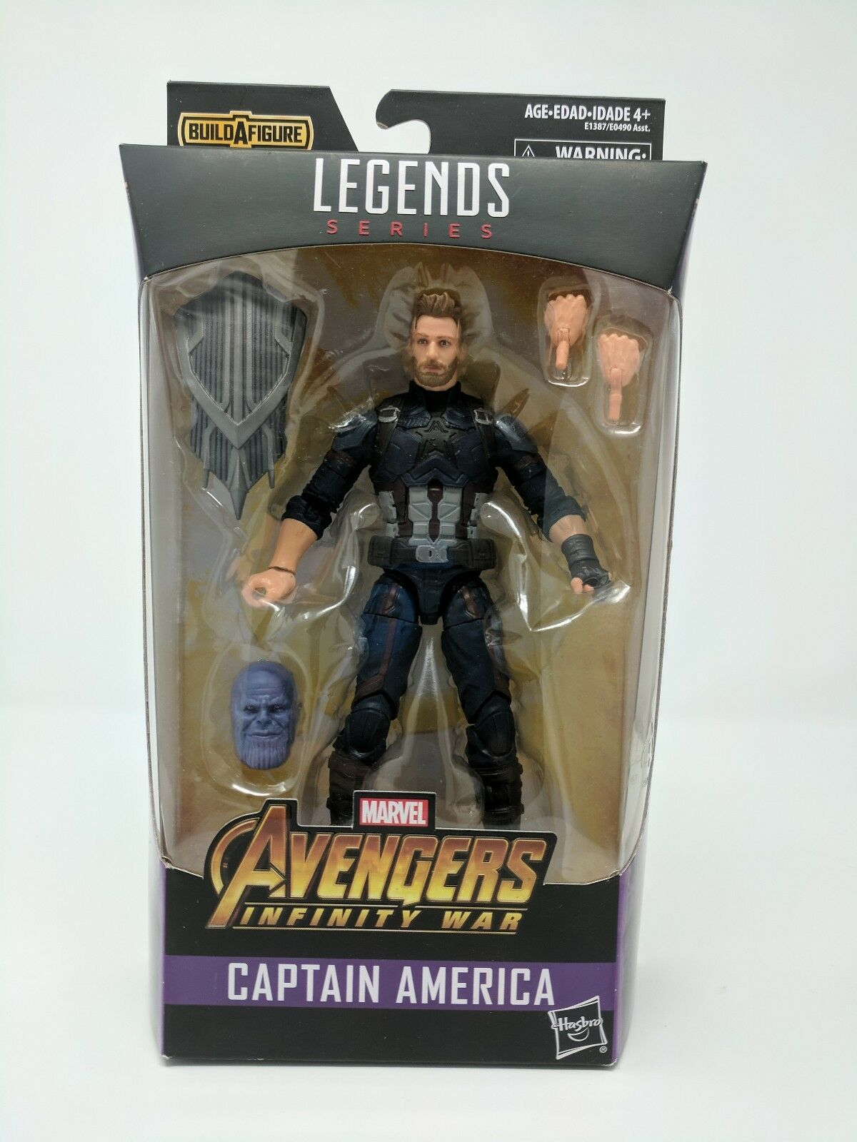 MARVEL LEGENDS AVENGERS INFINITE WAR CAPTAIN AMERICA FIGURE THANOS BAF HASBRO