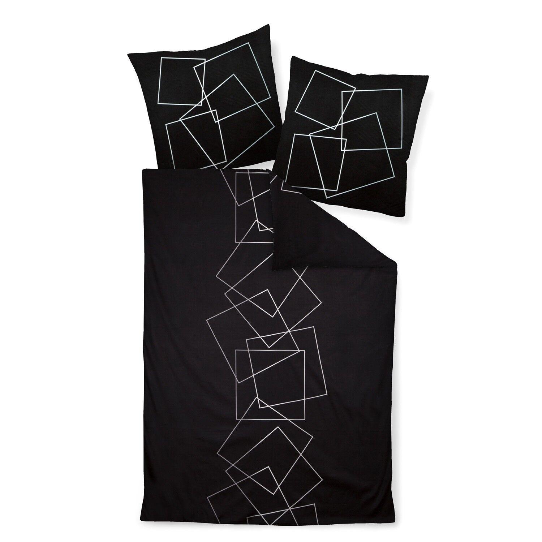 Janine Linge De Lit J.D. 87035 08 Noir sillber carrés graphiquement Mako Satin