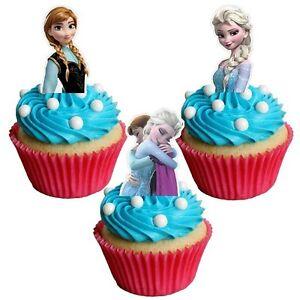 Frozen Cake Decor Uk : 24xDISNEY FROZEN ELSA & ANNA Edible decorations cup cake ...