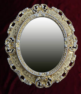 Espejo-de-Pared-Oro-Blanco-Ovalado-45x38-Barroco-Antiguo-Repro-Vintage-Nuevo-345