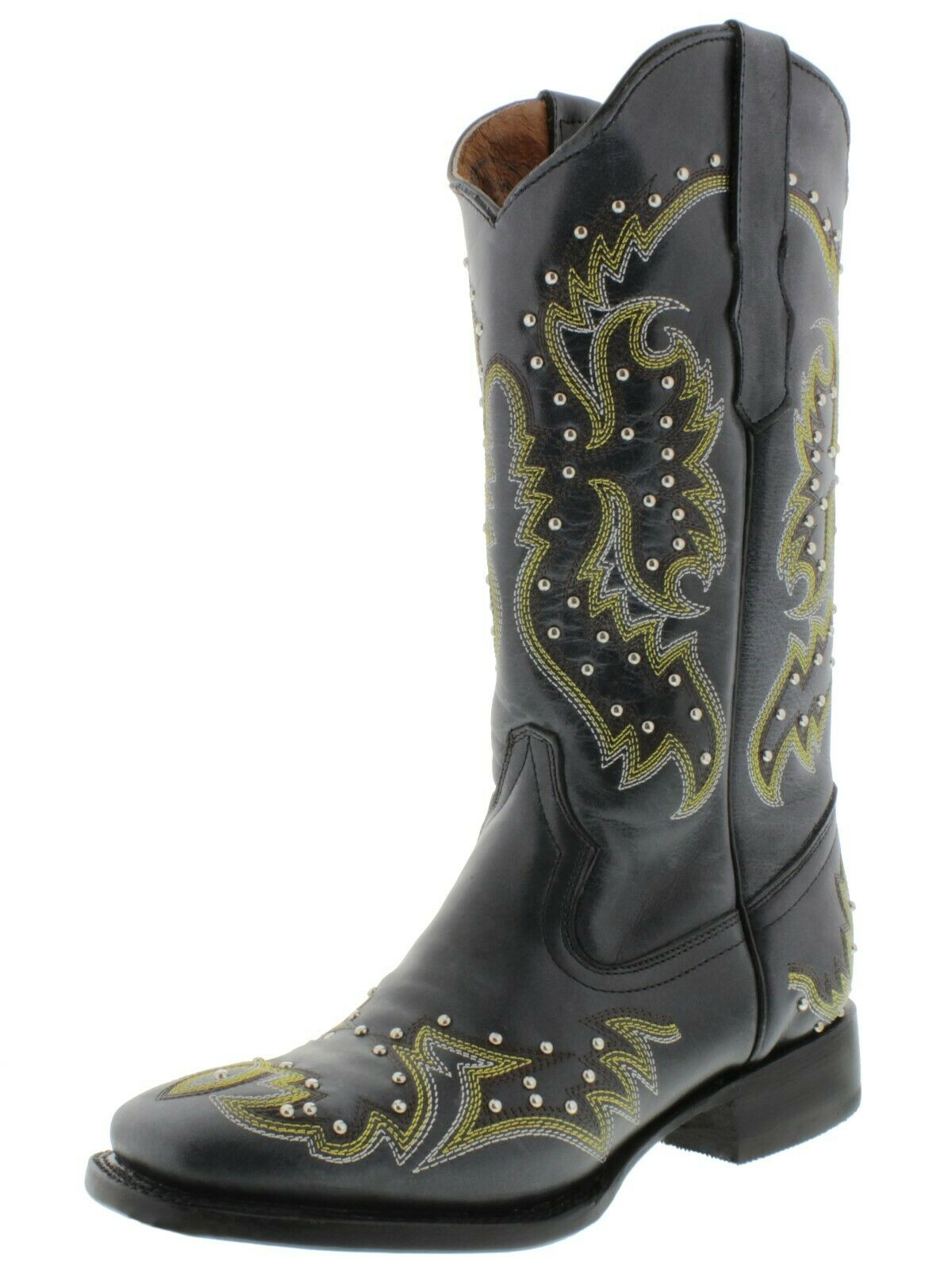 Womens Black Cowgirl Boots Silver Studded Real Embroidered Embroidered Embroidered Leather Square 81c570