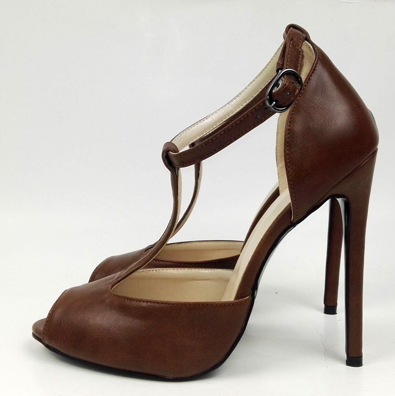 Women Solid Peep Toe Sky High Heel T-strap Buckle Stiletto Sandal Big Size Shoes