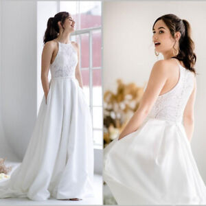 Details about Satin Beach Wedding Dresses With Pocket Lace Boho Bridal  Gowns Country Plus Size