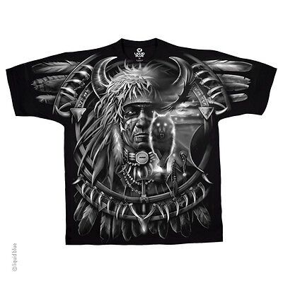 New WOLF DREAMCATCHER INDIAN T Shirt