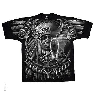New WOLF DREAMCATCHER INDIAN T Shirt