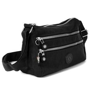 8ec14fd316daf Das Bild wird geladen Umhaengetasche-Nylon-schwarz-Sportliche-Damen- Handtasche-OTJ229S-Bag-