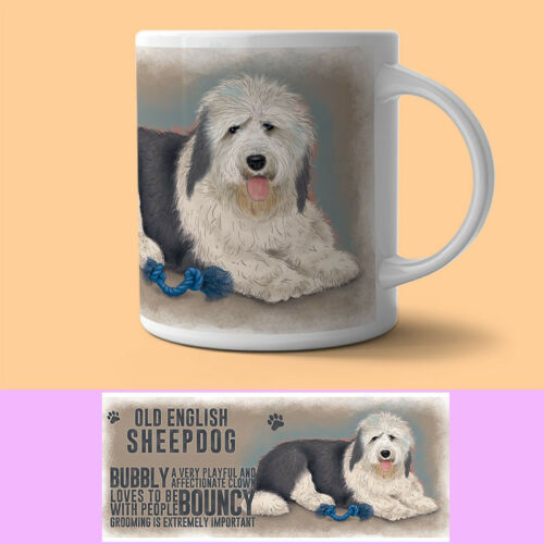English Sheepdog Mug Descriptive Dog Gift//Present