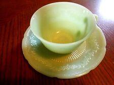Vintage Fire King Jadite Alice Pattern Cup And Saucer Set No Chips Or Cracks EUC