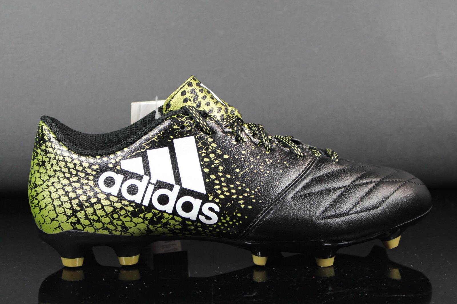 NUOVO Adidas x 16.3 Fg in pelle uomo sautopette da calcio Sautope bb4195 Nero