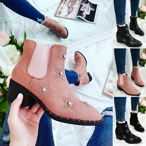 WOMENS CHELSEA ANKLE STUDDED MID BLOCK HEEL LADIES BOOTS SHOES