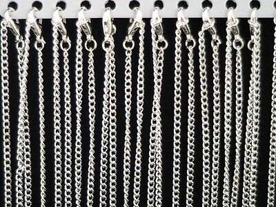12 x Silver Plated Link Necklace Chains With Lobster Clasps Jewellery Bulk New