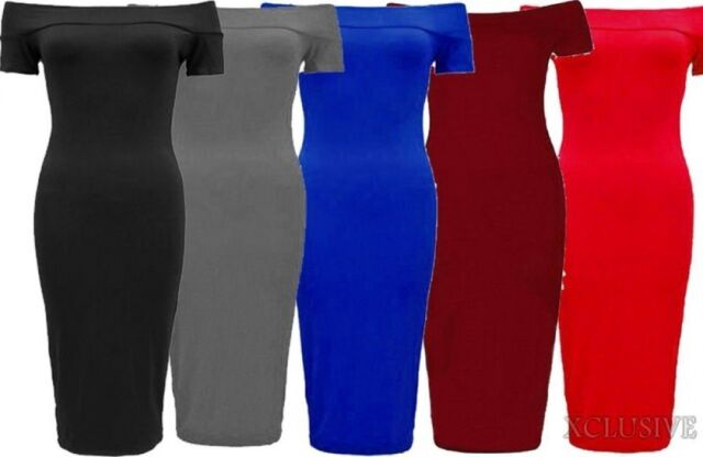 New Womens Plus Size Short Sleeve Off Shoulder Bodycon Midi Dress