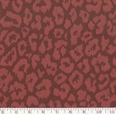 P Kaufmann Red Woven Jungle Cat Spot Upholstery Fabric Cougar Wine BTY