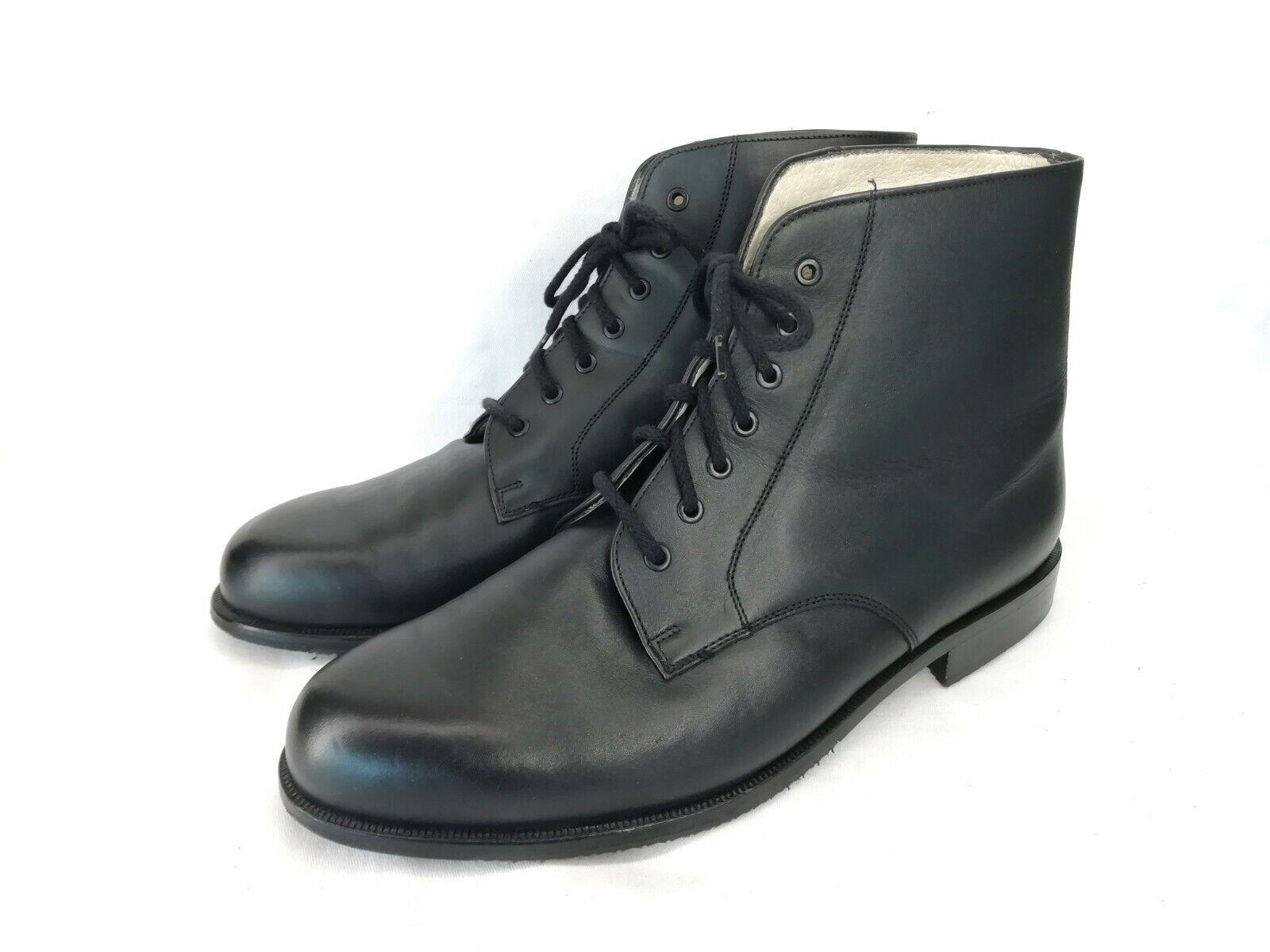 ORNIG Stiefel Vintage Herrenstiefel Stiefeletten Schwarz Leder Gr. 42 NEUWERTIG