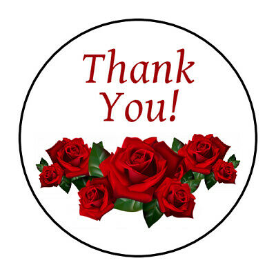 Thank You Stickers Labels Tags Envelope Seals Red Roses Ebay