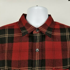 Polo-Sport-Ralph-Lauren-Mens-Red-Black-Flannel-Wool-Plaid-Dress-Button-Shirt-XL