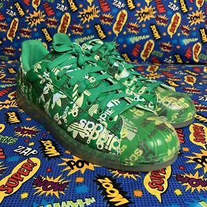 Adidas Superstar Clr Verde Todo Edición Limitada De Impresión Brilla En La Oscuridad Ebay