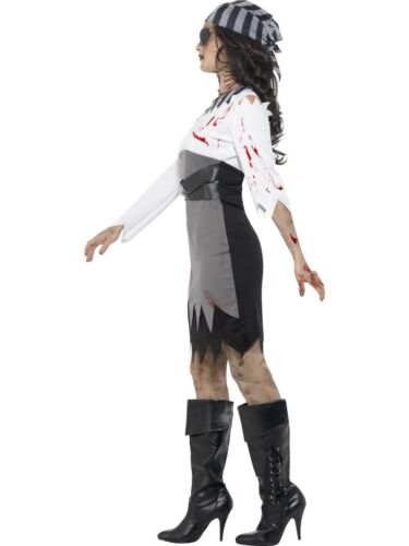 Zombie Pirate Lady Costume Ladies Ghost Halloween Fancy Dress Outfit XS-XL
