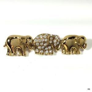 Vintage-Rhinestone-Gold-tone-3-Elephant-Bar-Pin-Brooch-Costume