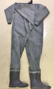 Hand-made-thick-unlined-black-rubber-full-body-waders-suit-chest-entry-L-EU-42