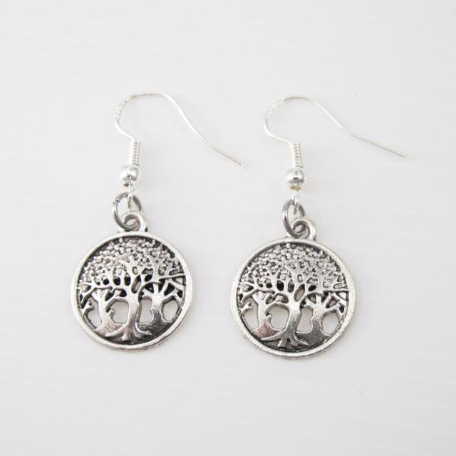 Silver Alloy Tree Of Life African Dangle Tribal Earrings 925 Sterling Hooks NEW