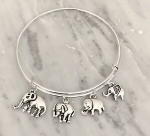 Elephant-Family-Of-4-Cute-Silver-charms-Expandable-Bangle-Bracelet