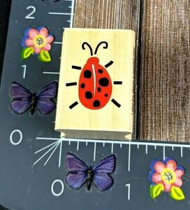 Hero Arts Lady Bug Note Rubber Stamp 2003 A2700 Wood #D25