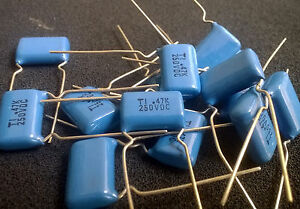 0 47uf 470nf 250v Blue Polyester Capacitors 474 10pcs
