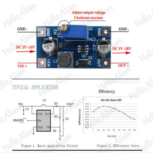 2 A DC-DC Boost Converter 2v-24v to 3v-28v 5 V 12 V 24 V Step Up Module d/'alimentation