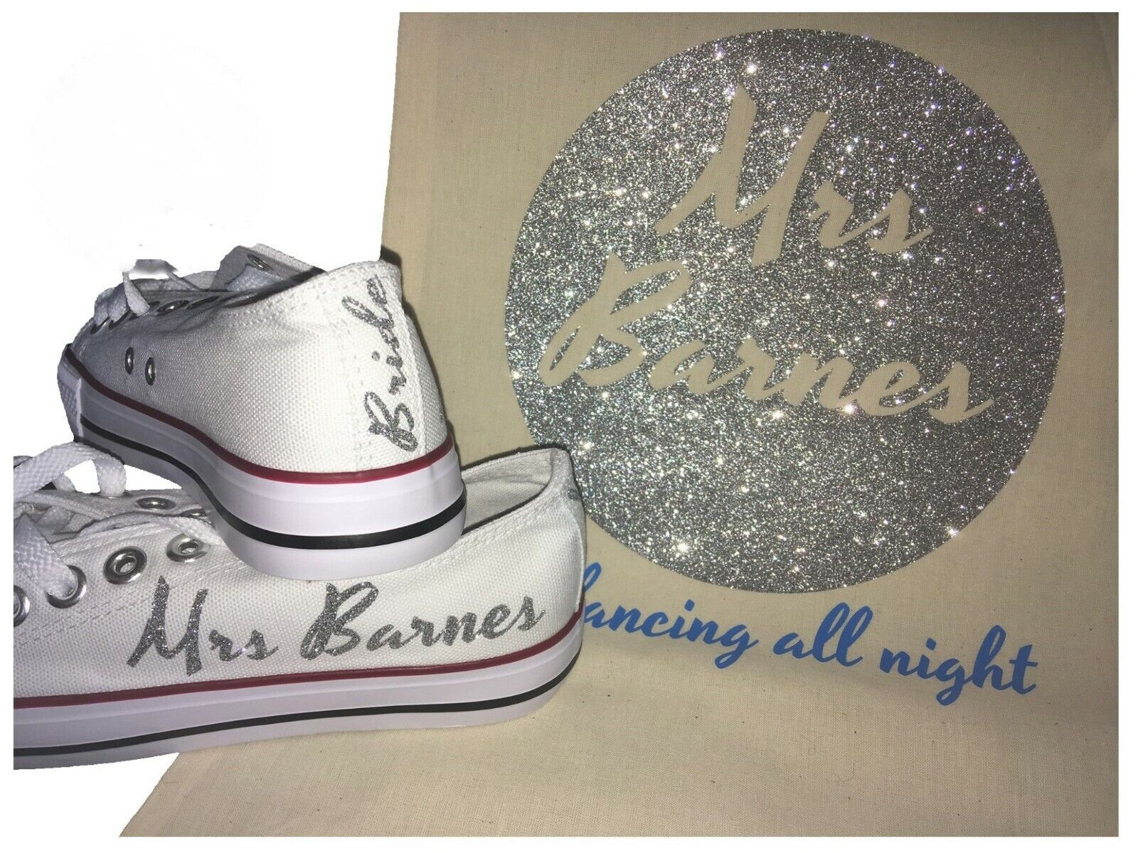 Personalised ladies canvas wedding trainers shoes glitter Mrs name date bride