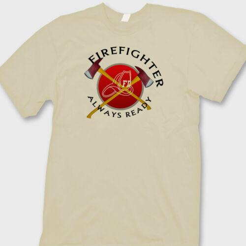 Firefighters Always Ready T-shirt Heroes Firemen Rescue Helmet Axe Tee Shirt