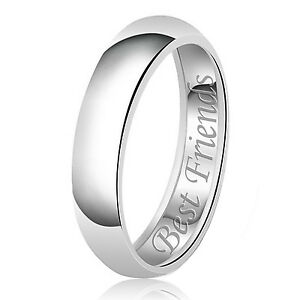 Sterling Silver 925 Solid Couples Best Friends Wedding Band Promise