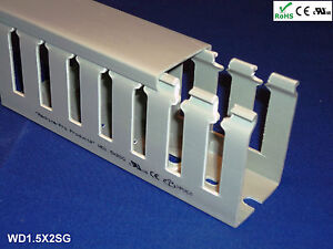 """18 New 1""""x1.5""""x2m Wide Finger Open Slot Wiring Cable Raceway Duct Cover,PVC,Gray"""