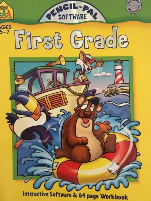 School Zone Interactive Workbook First Grade 5-7 Ages With CD Teacher Resource
