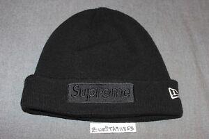 f0b171cefbe6a 2014 Supreme New Era Tonal Box Logo Beanie Black F W Hat S S ...