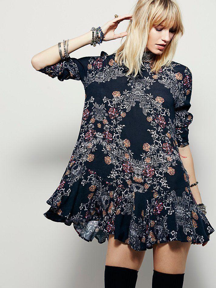 NWOT Free People Smooth Talker Floral Print Tunic Swing Dress Raven schwarz S Rare