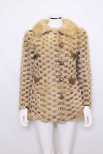 Vintage Original Real blonde mink fur leather retro 60s 70s collar coat jacket S