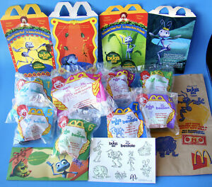 McDonald-039-s-Disney-A-Bugs-Life-Set-of-8-MIP-Happy-Meal-Toys-1998-with-Bonus-B