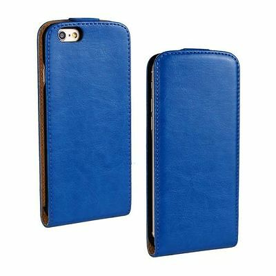 New Luxury Slim Vertical Folio Flip Blue PU Leather Case Hard Cover Magnetic
