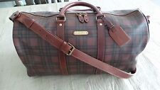 $455 Polo Ralph Lauren Tartan Plaid PVC & Leather Duffle Messenger Travel Bag