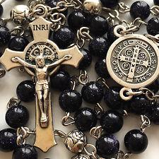 BLUE JADE PRAYER BEADS & SILVER ROSE BEADS ROSARY ITALY CROSS Catholic necklace
