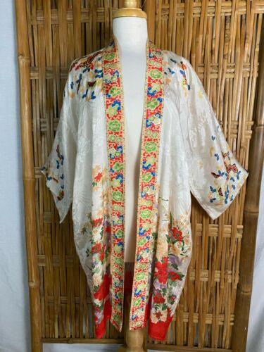 VTG 1920-30s Pongee Silk Robe Dressing Gown Floral