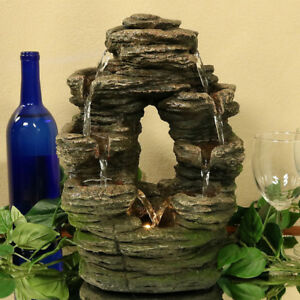 Split Rock Moss Detail Tiered Indoor Waterfall Fountain Water ...