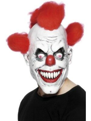 Scary Clown Mask Adult Mens Latex /& Red Hair Halloween Evil Killer Fancy Dress