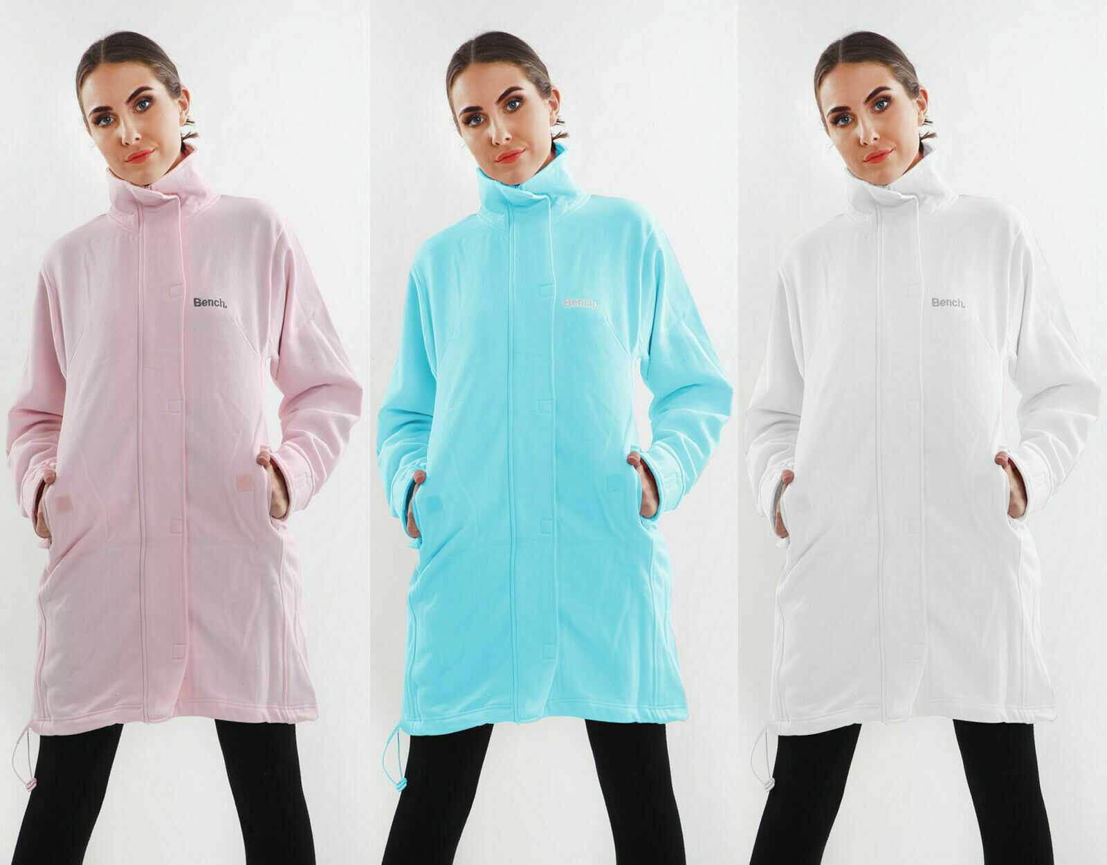 Ladies Celebrity Inspired Funnel Neck Fleece Bench Style Long Jacket Long Top