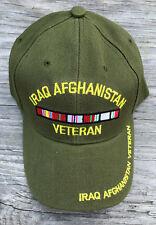cc00a68290b34 Iraq Afghanistan Veteran RIBBONS Ball Cap OEF OIF Army Navy USMC USAF Hat  Multi